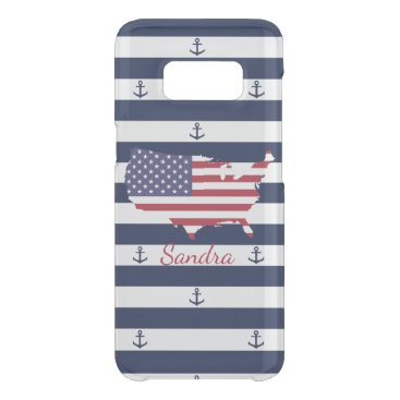 USA Themed American map flag | nautical stripes pattern get uncommon samsung galaxy s8 case