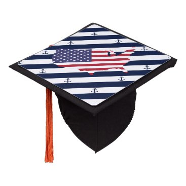 USA Themed American map flag | nautical stripes pattern graduation cap topper