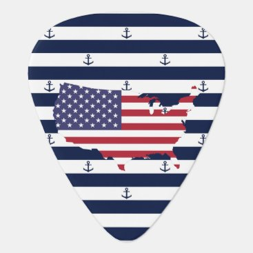USA Themed American map flag | nautical stripes pattern guitar pick