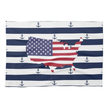 USA Themed American map flag | nautical stripes pattern hand towel