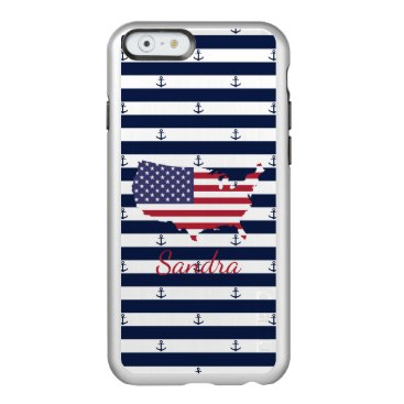 USA Themed American map flag | nautical stripes pattern incipio feather shine iPhone 6 case