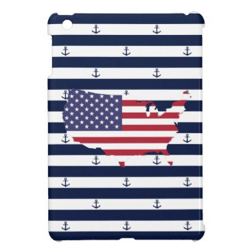 USA Themed American map flag | nautical stripes pattern iPad mini cover