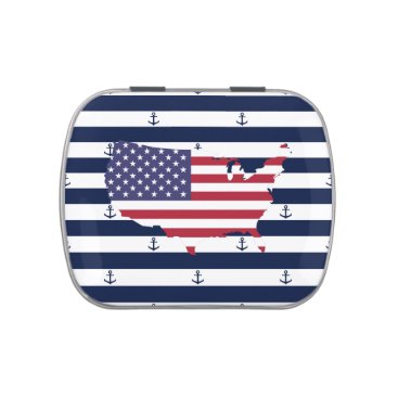 USA Themed American map flag | nautical stripes pattern jelly belly tins