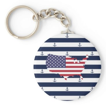 USA Themed American map flag   nautical stripes pattern keychain