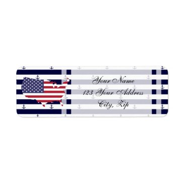 USA Themed American map flag | nautical stripes pattern label