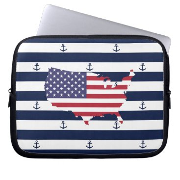 USA Themed American map flag | nautical stripes pattern laptop sleeve