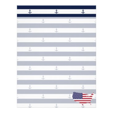 USA Themed American map flag | nautical stripes pattern letterhead