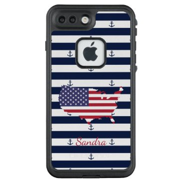 USA Themed American map flag | nautical stripes pattern LifeProof FRĒ iPhone 7 plus case