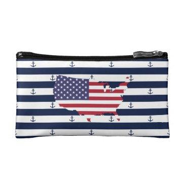 USA Themed American map flag   nautical stripes pattern makeup bag