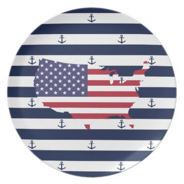 USA Themed American map flag | nautical stripes pattern melamine plate