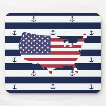 USA Themed American map flag | nautical stripes pattern mouse pad