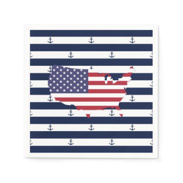 USA Themed American map flag | nautical stripes pattern napkin
