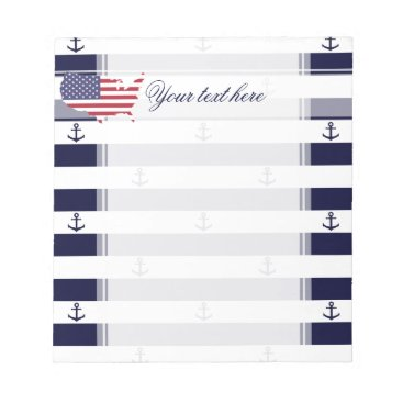 USA Themed American map flag | nautical stripes pattern notepad