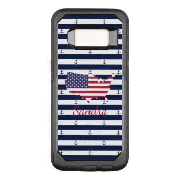 USA Themed American map flag | nautical stripes pattern OtterBox commuter samsung galaxy s8 case