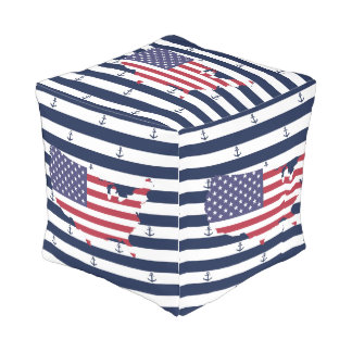 American map flag | nautical stripes pattern outdoor pouf