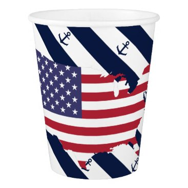 USA Themed American map flag | nautical stripes pattern paper cup
