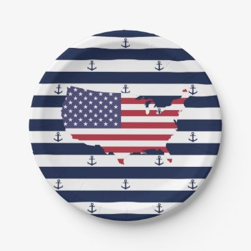 USA Themed American map flag | nautical stripes pattern paper plate