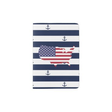 USA Themed American map flag | nautical stripes pattern passport holder