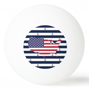 USA Themed American map flag | nautical stripes pattern Ping-Pong ball