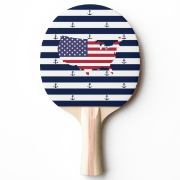 USA Themed American map flag | nautical stripes pattern ping pong paddle