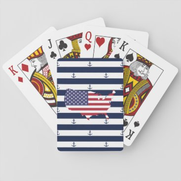 USA Themed American map flag | nautical stripes pattern playing cards
