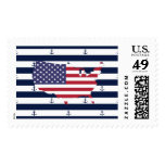 American map flag | nautical stripes pattern postage