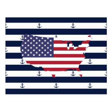 USA Themed American map flag | nautical stripes pattern postcard