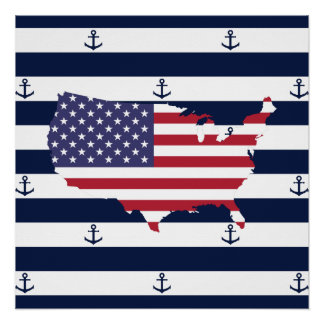American map flag | nautical stripes pattern poster