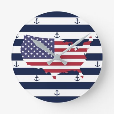 USA Themed American map flag | nautical stripes pattern round clock