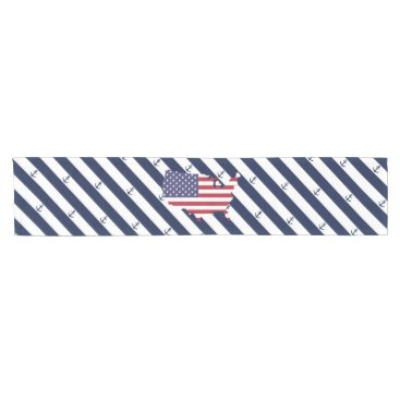USA Themed American map flag | nautical stripes pattern short table runner