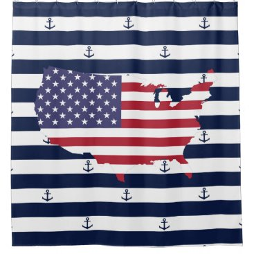 USA Themed American map flag | nautical stripes pattern shower curtain
