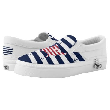 USA Themed American map flag | nautical stripes pattern Slip-On sneakers
