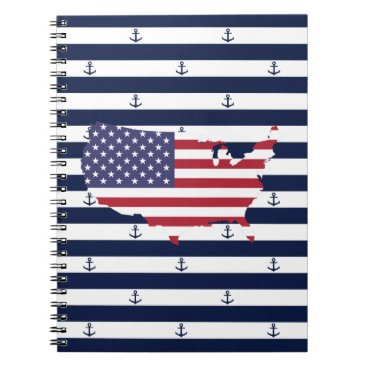 USA Themed American map flag | nautical stripes pattern spiral notebook