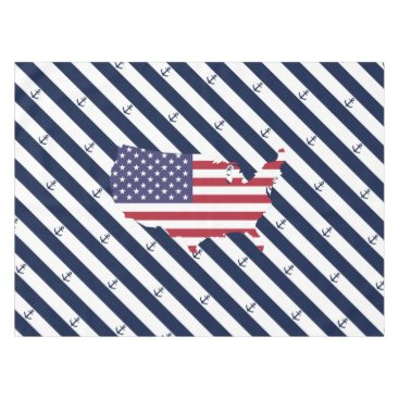USA Themed American map flag | nautical stripes pattern tablecloth