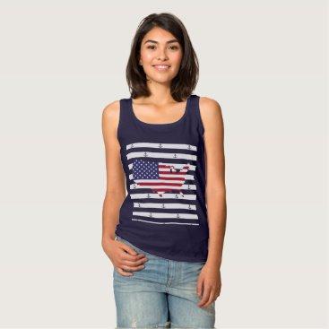 USA Themed American map flag | nautical stripes pattern tank top