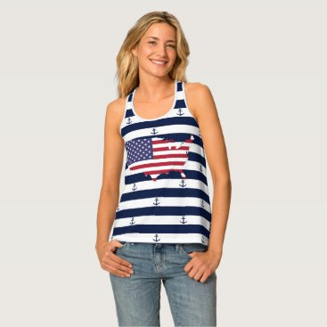 USA Themed American map flag | nautical stripes pattern tank top