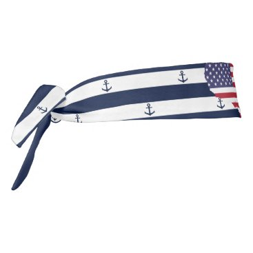USA Themed American map flag | nautical stripes pattern tie headband
