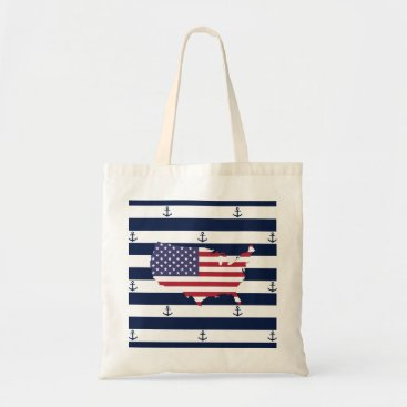 USA Themed American map flag | nautical stripes pattern tote bag