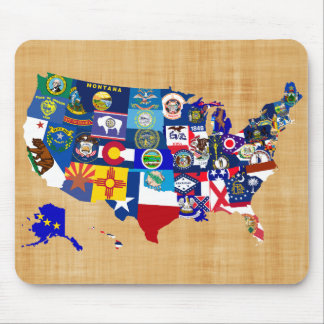 American Map State Flags Mosaic Mouse Pad