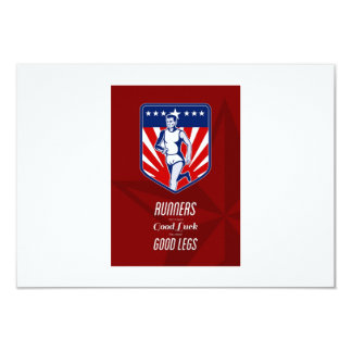 American Marathon Runner Good Legs Poster 9 Cm X 13 Cm Invitation Card