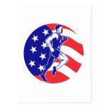 American Marathon runner stars stripes Postcard