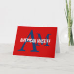 American Mastiff Breed Monogram Note Card