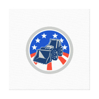 American Mechanical Digger Excavator Circle Canvas Prints