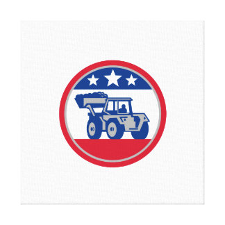 American Mechanical Digger Excavator Retro Stretched Canvas Print