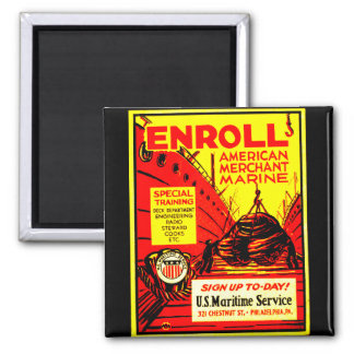 American Merchant Marine - Enroll Today ! 2 Inch Square Magnet