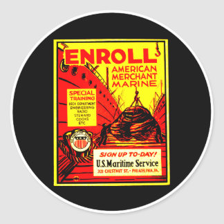 American Merchant Marine-Enroll Today Classic Round Sticker