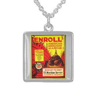 American Merchant Marine-Enroll Today Square Pendant Necklace