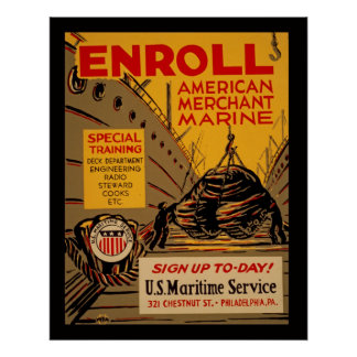 American Merchant Marine Enroll Today Vintage WPA Poster