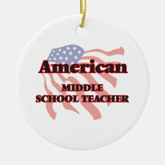 American Middle School Teacher Double-Sided Ceramic Round Christmas Ornament