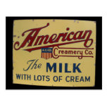 American milk company vintage sign post card